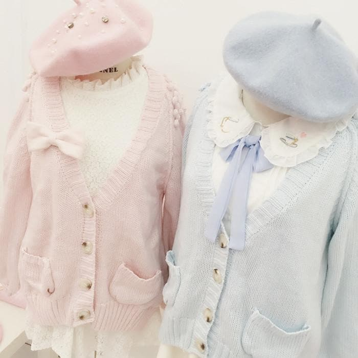 White/Pink/Blue Sweet Knitted Coat SP164881 - SpreePicky  - 1