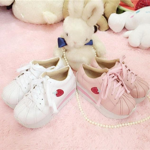 White/Pink Strawberry Platform Shoes SP166200
