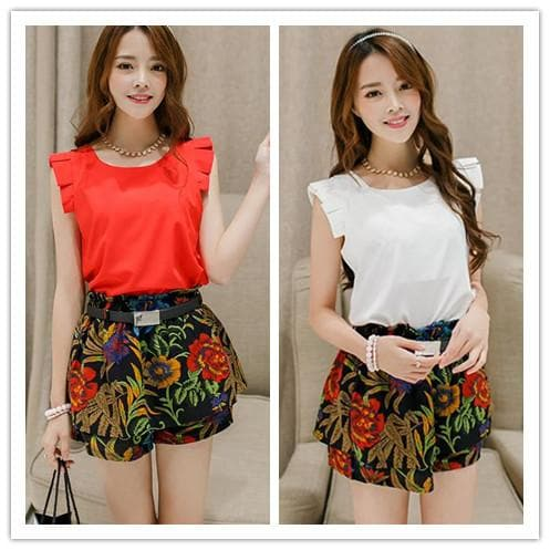 M-XL White/Red Oversized T-Shirt + Shorts Set SP152634 - SpreePicky  - 1