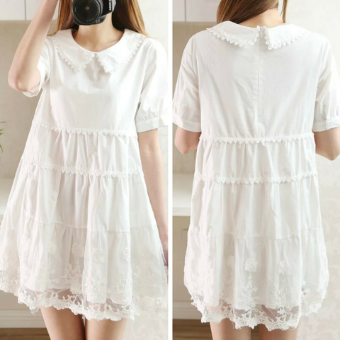 White Lace Embroider Loose Bubble Dress SP166416