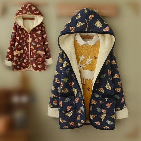 Wine/Navy Mori Girl Little Birds Fleece Hoodie Coat SP154078 - SpreePicky  - 1