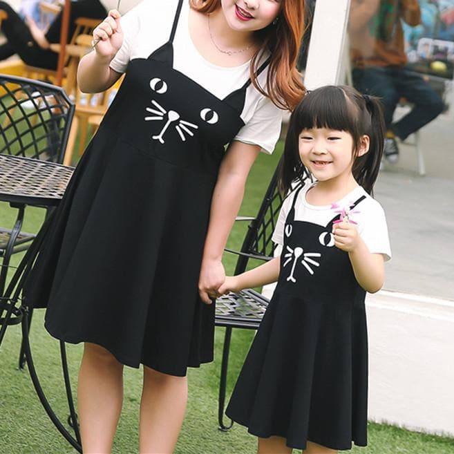 XL-4XL Kawaii Neko Cat False Two-Piece Family Dress SP165975