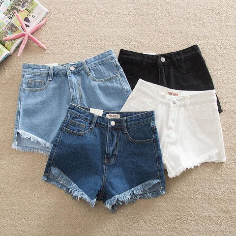 XS-3XL 4 Colors Loose High Waist Jean Shorts SP166233