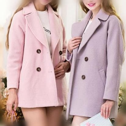 XS-L Pink/Purple Sweet Woollen Coat SP154540 - SpreePicky  - 1