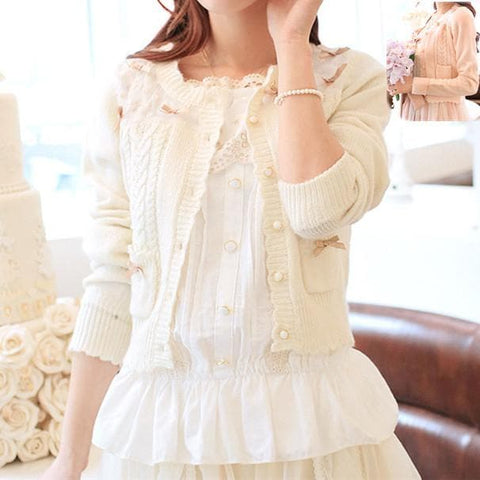 White/Beige/Pink Mori Girl Knitted Sweater Cardigan Jacket SP153443