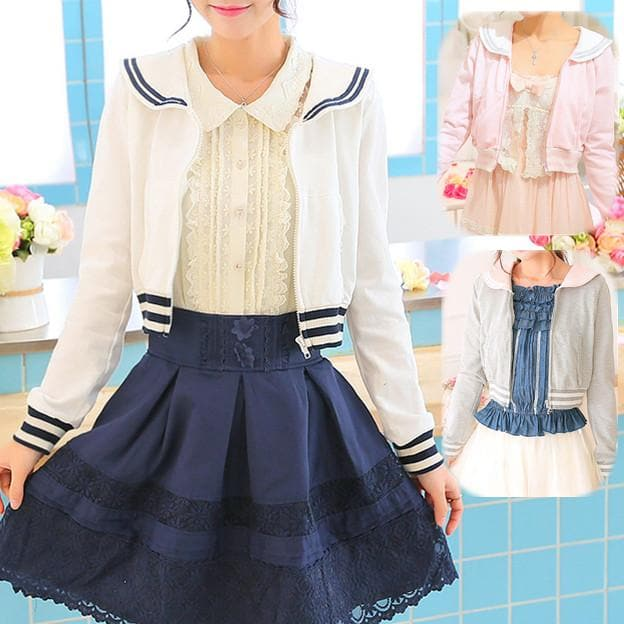 White/Grey/Pink Sailor Collar Embroidery Knitted Sweater Cardigan Coat SP153444 - SpreePicky  - 1