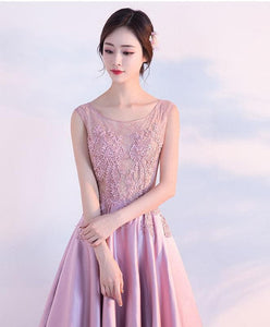 Beautiful Pink Lace Satin Long Prom Dress, Pink Evening Dress - DelaFur Wholesale