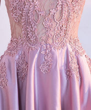 Load image into Gallery viewer, Beautiful Pink Lace Satin Long Prom Dress, Pink Evening Dress - DelaFur Wholesale