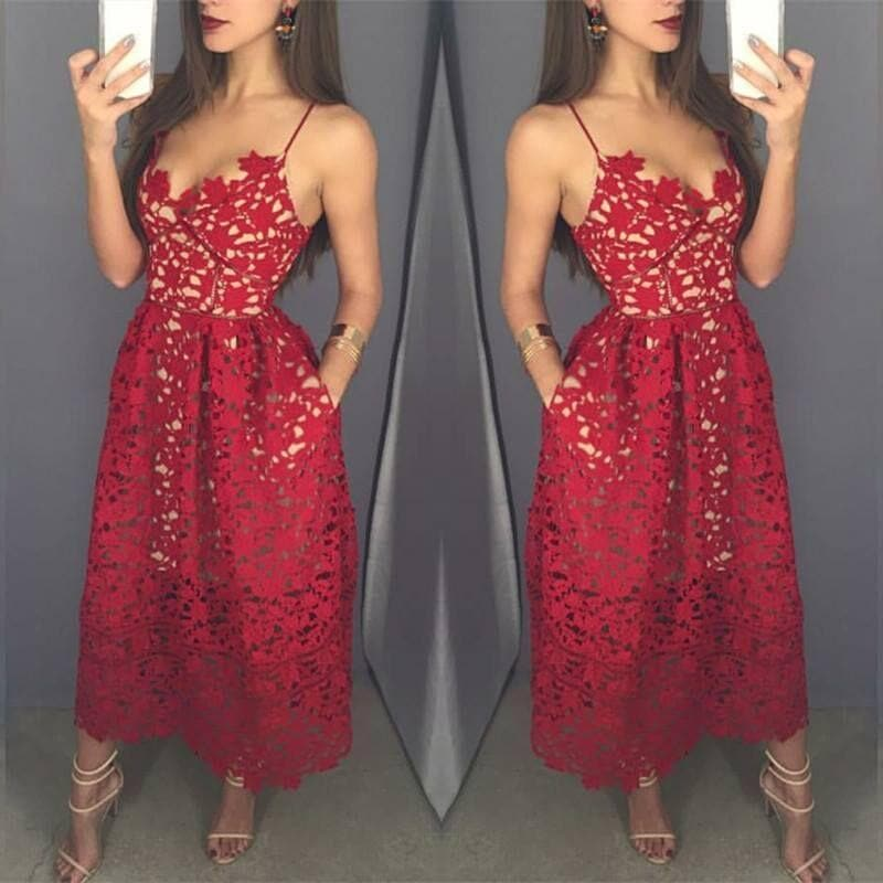 Red Lace Tea Length Prom Dress, Fashion Girl Dress - DelaFur Wholesale