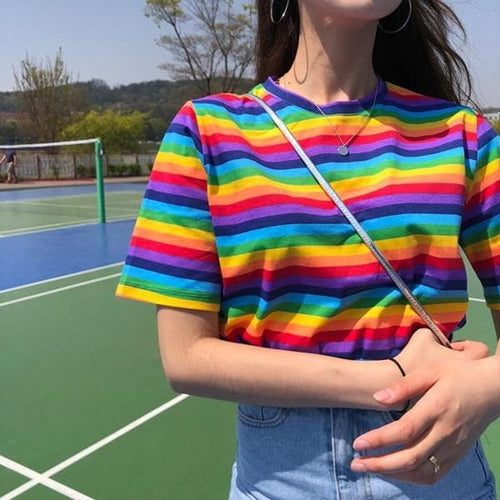 Casual Loose Rainbow Striped Tee Shirt SP14717