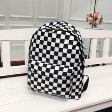 Load image into Gallery viewer, Black And White Plaid Nylon Travel Daypack Laptop Backpack SS0203