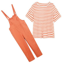 Load image into Gallery viewer, Orange/Khaki/White Loose Two Piece Set SP14814