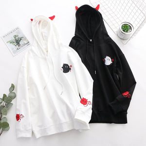 Black/White Little Cute Devil Print Hoodie Jumper SP14214