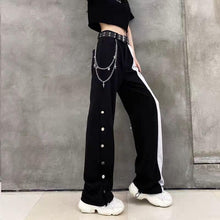 Load image into Gallery viewer, Gothic Black White Splice High Waist Wide Leg Pants SP15192