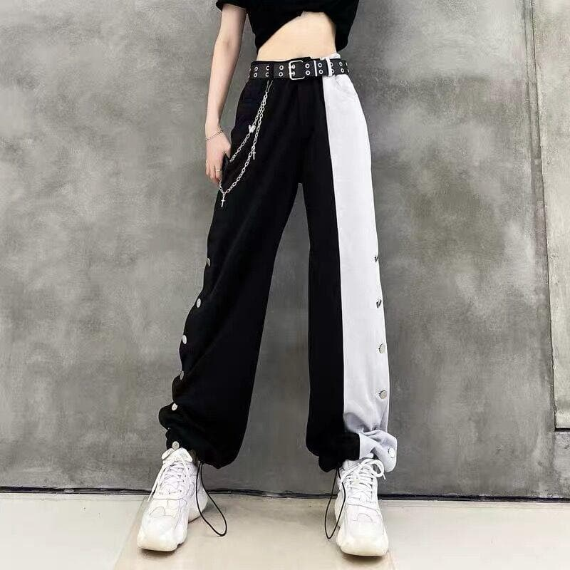 Gothic Black White Splice High Waist Wide Leg Pants SP15192