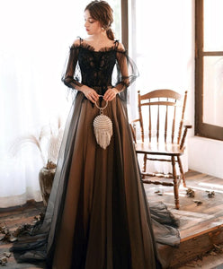 Black Tulle Lace Long Prom Dress Black Lace Evening Dress - DelaFur Wholesale