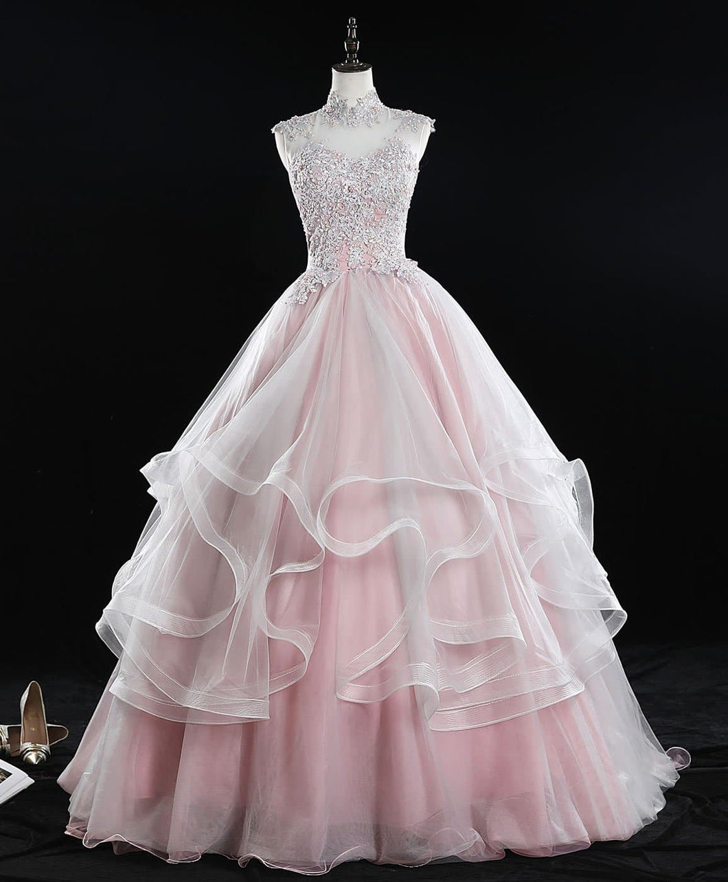 Pink High Neck Tulle Lace Long Sweet 16 Dress Tulle Lace Pink Prom Dress - DelaFur Wholesale
