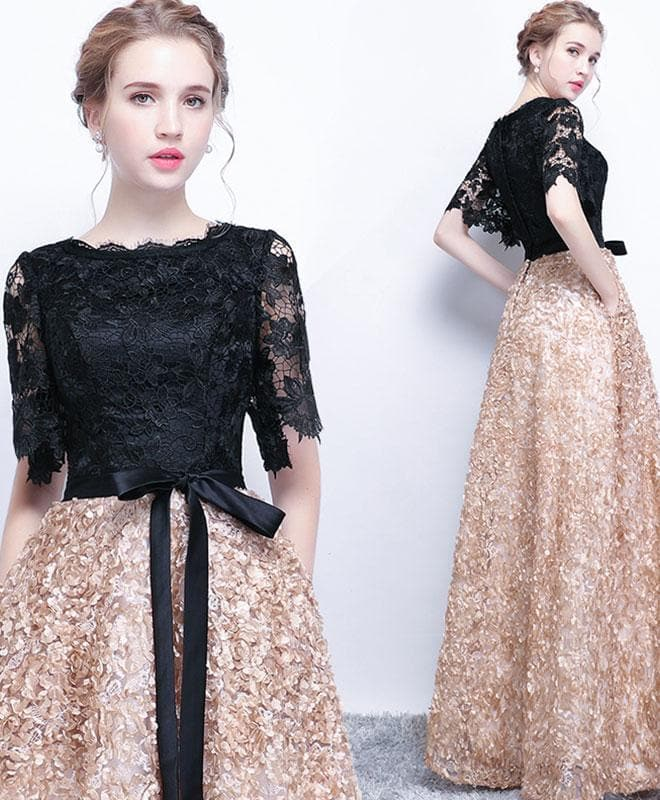 Unique Black Lace Long Prom Dress, Lace Evening Dress - DelaFur Wholesale