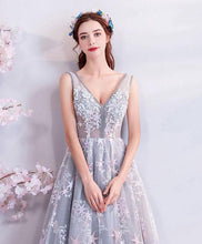 Load image into Gallery viewer, Gray V Neck Lace Long Prom Dress, Gray Evening Dress - DelaFur Wholesale