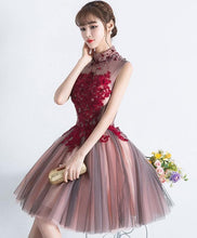 Load image into Gallery viewer, Unique Burgundy Tulle Lace Short Prom Dress, Tulle Homecoming Dress - DelaFur Wholesale