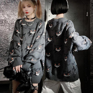 Anime Sweater Women Harajuku Gengar Pattern Pullover SP084
