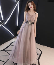 Load image into Gallery viewer, Champagne V Neck Tulle Long Prom Dress - Harajuku Kawaii Fashion Anime Clothes Fashion Store - SpreePicky