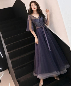 Elegant A-Line Tulle Lace Prom Dress Purple Tulle Formal Dress - DelaFur Wholesale