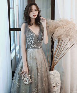Gray V Neck Tulle Lace Sequin Long Prom Dress Gray Tulle Formal Dress - DelaFur Wholesale
