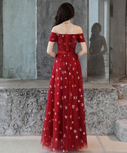 Load image into Gallery viewer, Burgundy Off Shoulder Tulle Long Prom Dress, Burgundy Evening Dress - Harajuku Kawaii Fashion Anime Clothes Fashion Store - SpreePicky