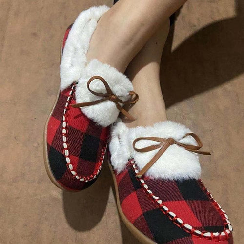 Warm Plush Bowknot Fur Boat Shoes SP15529