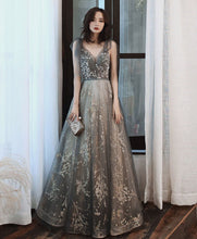 Load image into Gallery viewer, Gray V Neck Tulle Lace Sequin Long Prom Dress Gray Tulle Formal Dress - DelaFur Wholesale