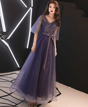 Load image into Gallery viewer, Elegant A-Line Tulle Lace Prom Dress Purple Tulle Formal Dress - SpreePicky FreeShipping