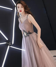 Load image into Gallery viewer, Champagne V Neck Tulle Long Prom Dress, Evening Dress - DelaFur Wholesale