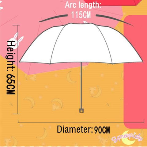 [3 Colors] Sailor Moon Crystal Usagi Bunny 3 Folding Umbrella SP151637 - SpreePicky  - 7