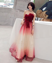 Load image into Gallery viewer, Burgundy Tulle Sequin Long Prom Dress, Tulle Evening Dress - DelaFur Wholesale