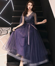 Load image into Gallery viewer, Elegant A-Line Tulle Lace Prom Dress Purple Tulle Formal Dress - DelaFur Wholesale