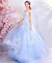 Load image into Gallery viewer, Blue Lace Tulle Long Prom Dress, Blue Tulle Evening Dress - DelaFur Wholesale