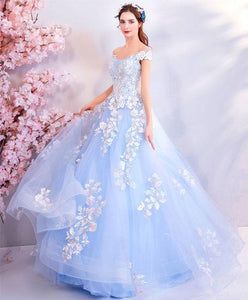 Blue Lace Tulle Long Prom Dress, Blue Tulle Evening Dress - DelaFur Wholesale