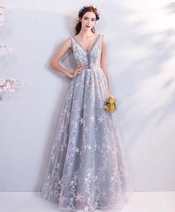 Gray V Neck Lace Long Prom Dress, Gray Evening Dress - DelaFur Wholesale