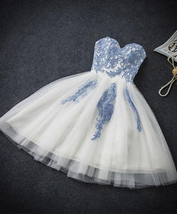 Cute Blue Sweetheart Neck Tulle Lace Short Prom Dress, Blue Homecoming Dress - DelaFur Wholesale
