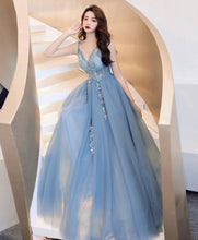Load image into Gallery viewer, Blue V Neck Tulle Lace Long Prom Dress Blue Tulle Formal Dress - DelaFur Wholesale