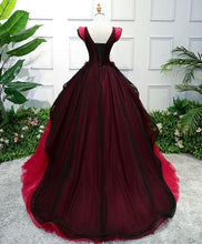 Load image into Gallery viewer, Unique Burgundy V Neck Tulle Long Prom Dress, Burgundy Evening Dress - DelaFur Wholesale