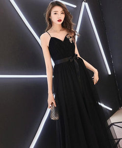 Black Sweetheart Tulle Long Prom Dress, Black Tulle Evening Dress - DelaFur Wholesale