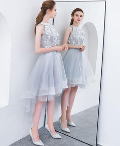 Cute High Neck Gray Tulle Short Prom Dress, Tulle Homecoming Dress - DelaFur Wholesale
