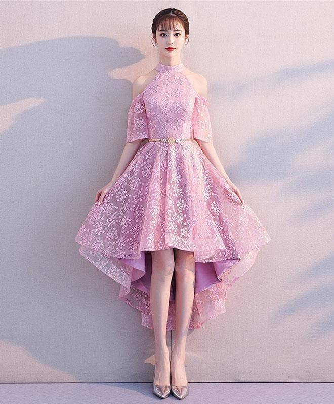 Pink High Neck Lace Short Prom Dress, Pink Homecoming Dress - DelaFur Wholesale