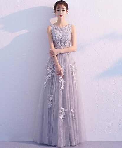 Gray Tulle Lace Long Prom Dress, Gray Bridesmaid Dress - DelaFur Wholesale
