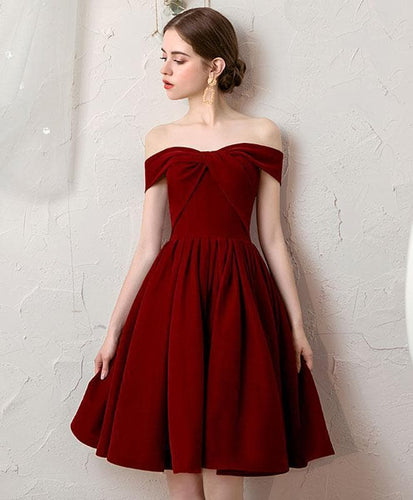 Simple Burgundy Short Prom Dress Burgundy Bridesmaid Dress - DelaFur Wholesale