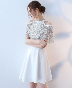 White Cute Lace Short Prom Dress, White Evening Dress - DelaFur Wholesale