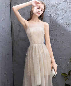Champagne Tulle High Low Prom Dress, Champagne Evening Dress - DelaFur Wholesale