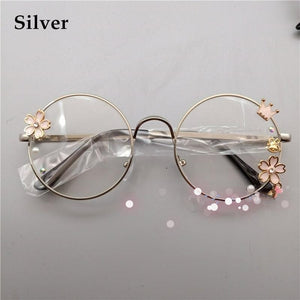 Lolita Metal Round Cherry Blossom Frame Decorative Glasses SP15141